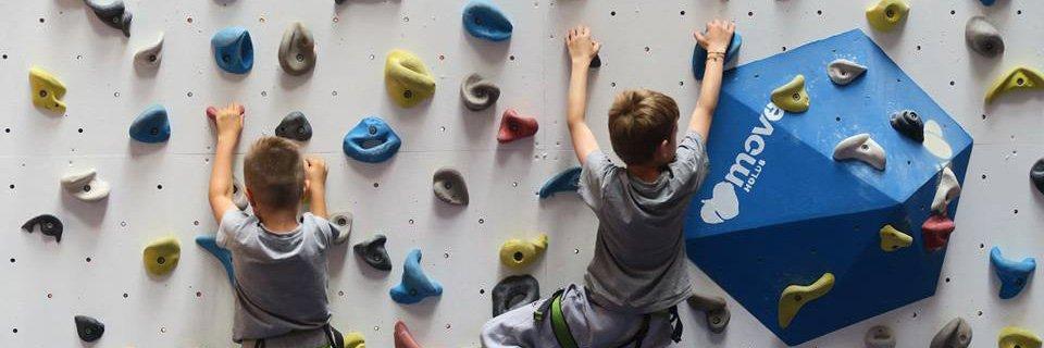 Děti lezoucí na umělé stěně
